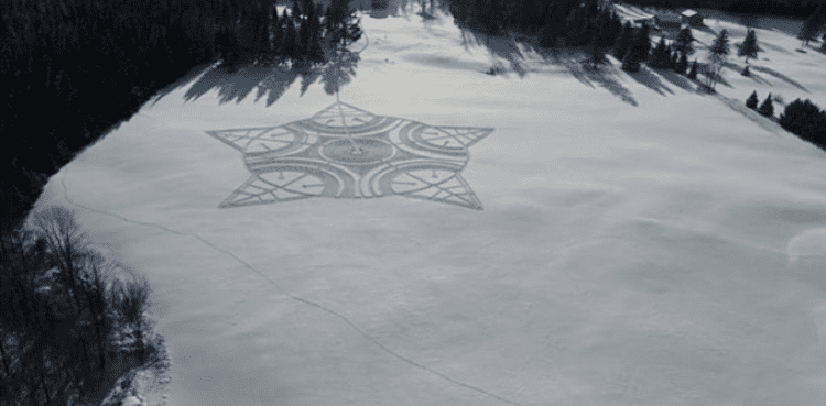 Snowshoe Art Snowflake from Above.